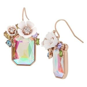 Betsey Johnson flowerpetals rosegold tone earrings